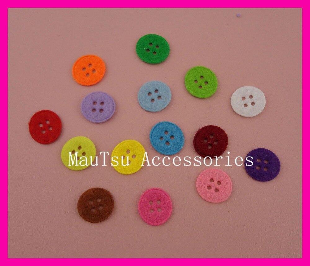 800PCS multi-colors 1.8cm 28L Round felt buttons pads with four holes, four holes button felt patches appliques,wholesales
