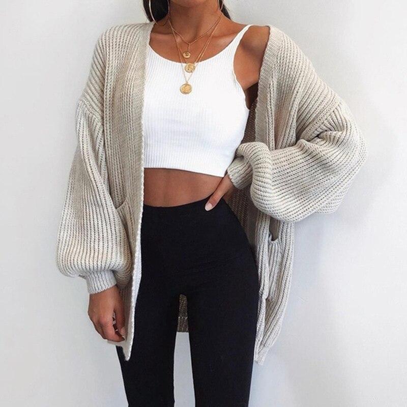 LITTHING אישה סוודר מקרית עטלף שרוול סריגי קרדיגן נשים גדול סרוג סוודר קרדיגן Jumper מעיל 2019