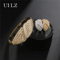 UILZ Sparking Wide Bracelets Ring Set Full Rhinestones With Cubic Zircon Bangle Jewelry Sets Europe Style