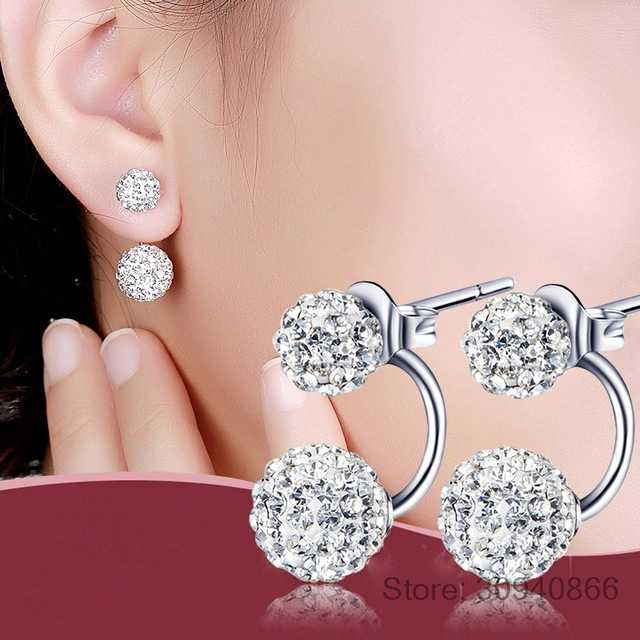 Women 's Luxury Rhinestone Crystal Ball Stud Earrings Fashion 925 Silver Jewelry Temperament Princess Stud Earrings 2019 New