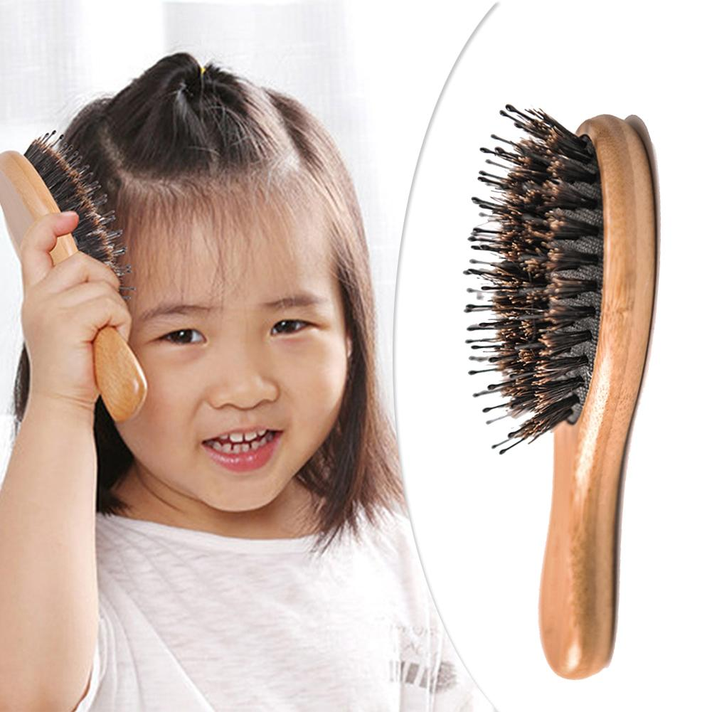 Professional Boar Bristle Hairbrush Wooden Massage Comb Anti-static Hair Paddle Brush Wooden Handle Hair Brush Styling Tool
