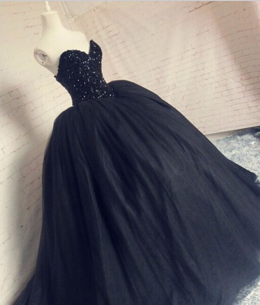 deef1c5ec4cf Preto gótico Vestidos de Casamento vestido de Baile Querida Bling  Totalmente Frisada Corset Puffy Vestido De Noiva Vestidos de Noiva Princesa  em Vestidos De ...
