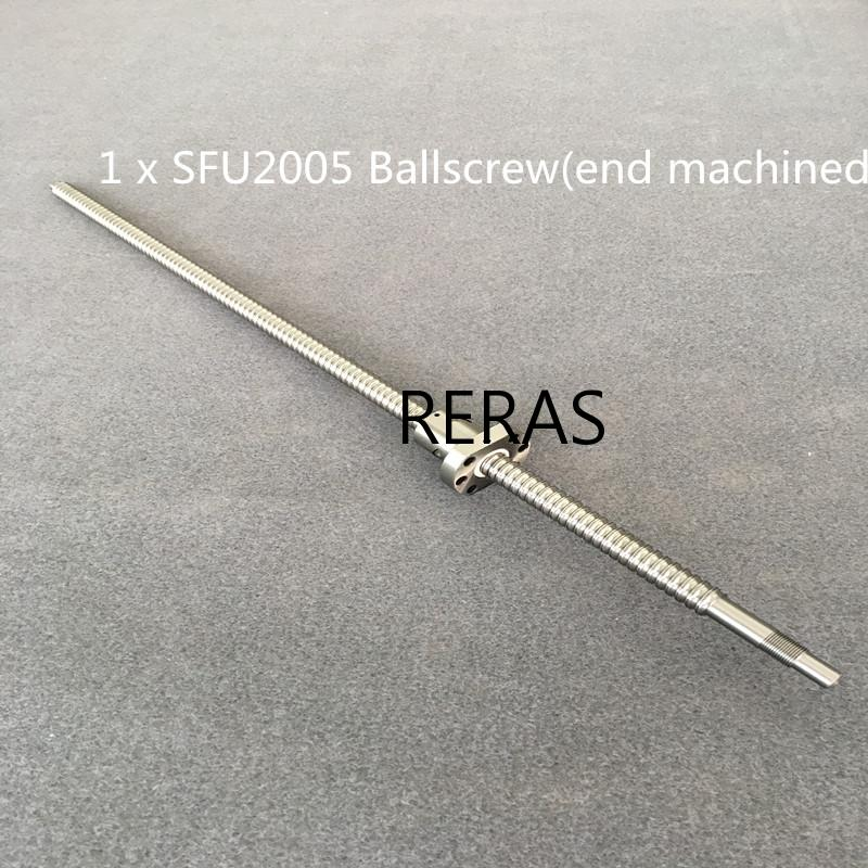 SFU2005 / 2010 300 400 500 600 650 700 750 800 900 1000 1200 1500 Mm Ballscrew BK15/BF15 End Machined CNC Parts Free Shipping