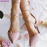 Для женщин Изысканный розовые замшевые туфли-лодочки с острым носком туфли на шпильках перекрестной шнуровкой обувь для вечеринок стройна...