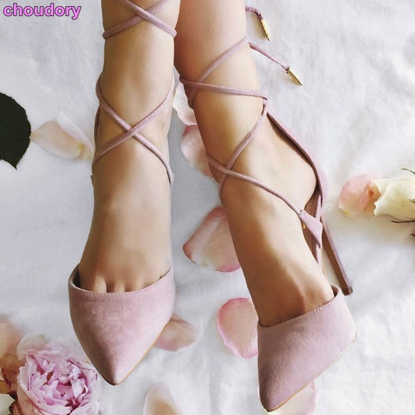Women exquisite pink suede pointed toe pumps stiletto heels cross lace-up  party shoes slim fit prom shoes Dropship
