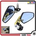 """Universal Motos 7/8 """"22mm Azul Espelho Lateral Espelho Retrovisor Handle Bar End Para DUCATI Monster 695 696 796 1100 1200 Ouro"""