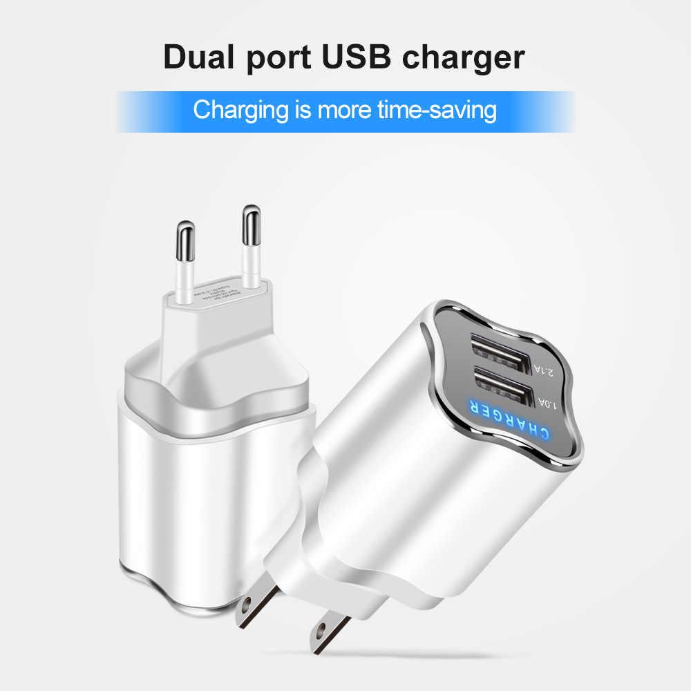 UE/EUA Plug Porta USB Carregador 2 5 V 2.1A Parede Adaptador Carregador Do Telefone Móvel Para Samsung S9 Hauwei tablet Portátil de Carregamento Do Telefone USB