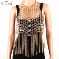 CHRAN Summer Beach Gold Color Mesh Metal Chain Jewelry Sexy Women Tassels Full Body Chain Necklace