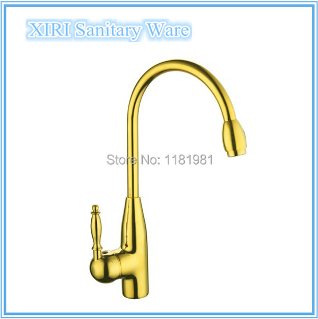 ФОТО Deck mounted basin faucet gold color mixer faucet widespread kitchen sink Faucet XR-GZ-8022K
