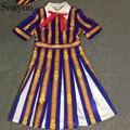 Impresión barroca de la vendimia mini dress estilo de diseño de la pista del verano del resorte de las mujeres media manga rayada vestidos plisados svoryxiu