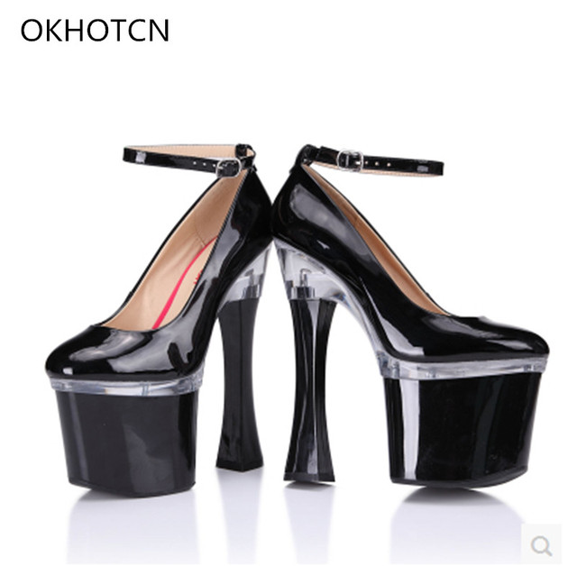20c86b7756c Sexy Super High 20cm Platform Mary Janes Pumps Shoes Round Toe Red Black  White Patent Leather Women Shoes Strange Heel Footwear
