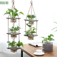 Creative Hydroponic Plant Transparent Vase Wooden Frame Home Office Coffee Shop Room Glass Bonsai Decor Hang Flower Jardiniere