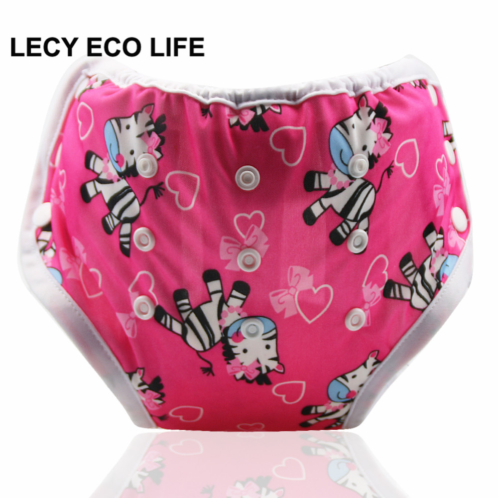 LECY ECO LIFE snap button design side open adjustable size toddlers potty training pants diapers with bamboo inner material