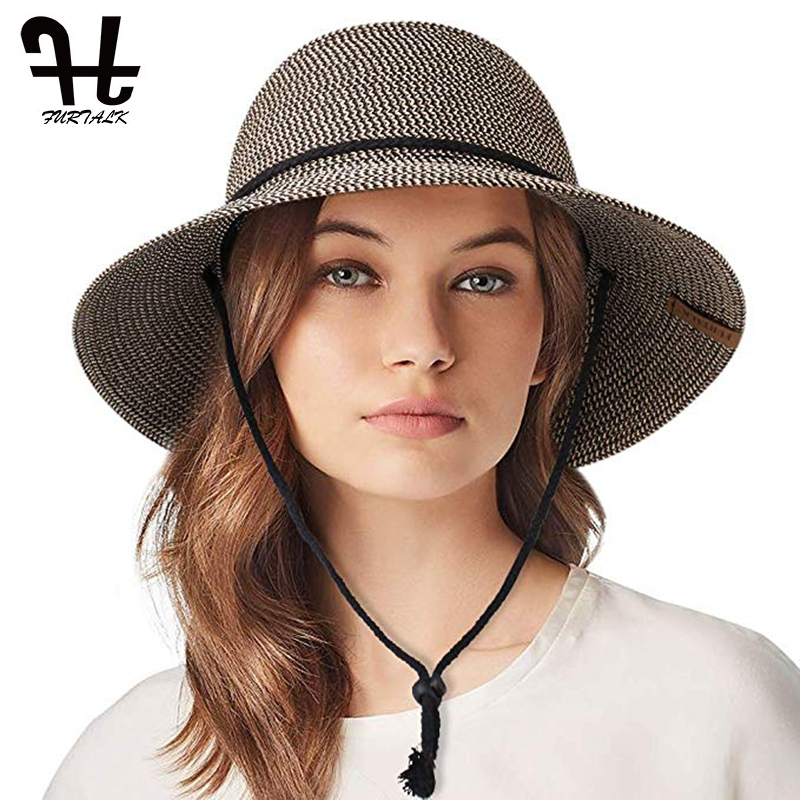 FURTALK Summer Hat For Women Straw Hat Beach Sun Hat Female Wide Brim UPF 50+ Sun Protection Bucket Hats Cap With Wind Lanyard