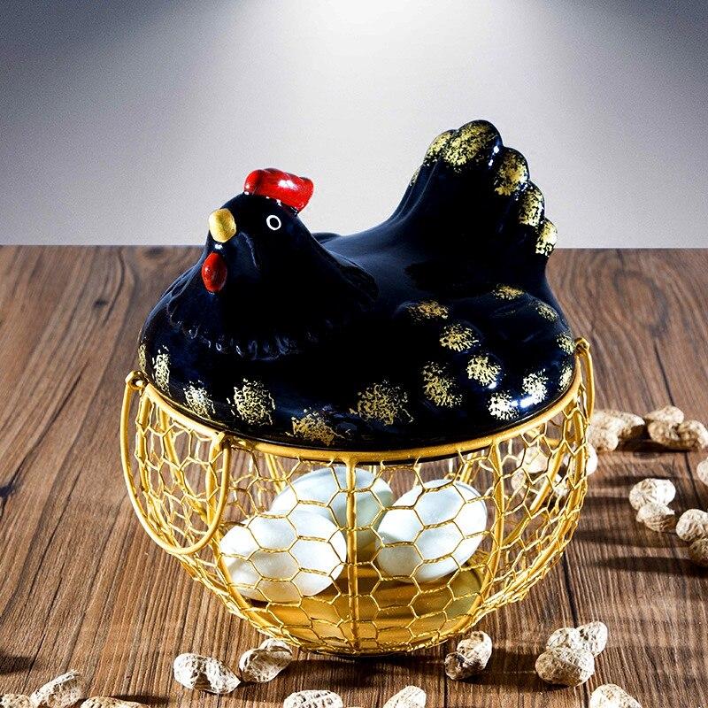 Ceramiczne uchwyt na jajka z drutu kurczaka koszyk na jajka kosz owoców kreatywny kolekcja ceramiczne w obiekcie oramenty dekoracji akcesoria kuchenne w Kosze do przechowywania od Dom i ogród na AliExpress - 11.11_Double 11Singles' Day 1