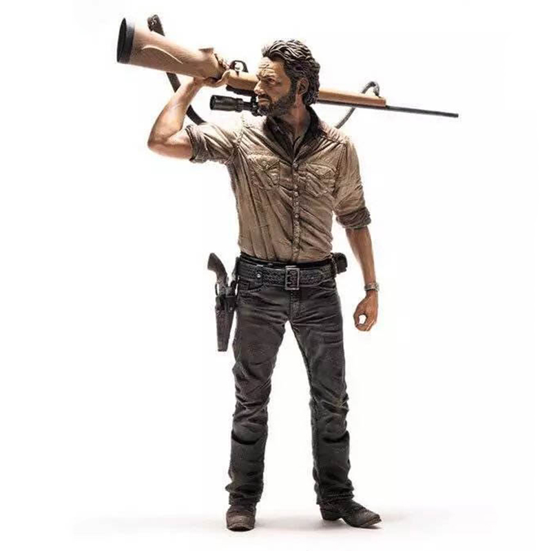 C&F The Walking Dead Action Figure Toys Popularity Role Rick Grimes 25 CM Stock Collectible PVC Figures Toys For Man the walking dead action figure zombie figures head resin crystal car ornament home desk decoration furnishing articles