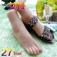 Real skin small girl 27size full silicone life size fake feet model foot fetish toy ,mannequin foot for sock shoes display