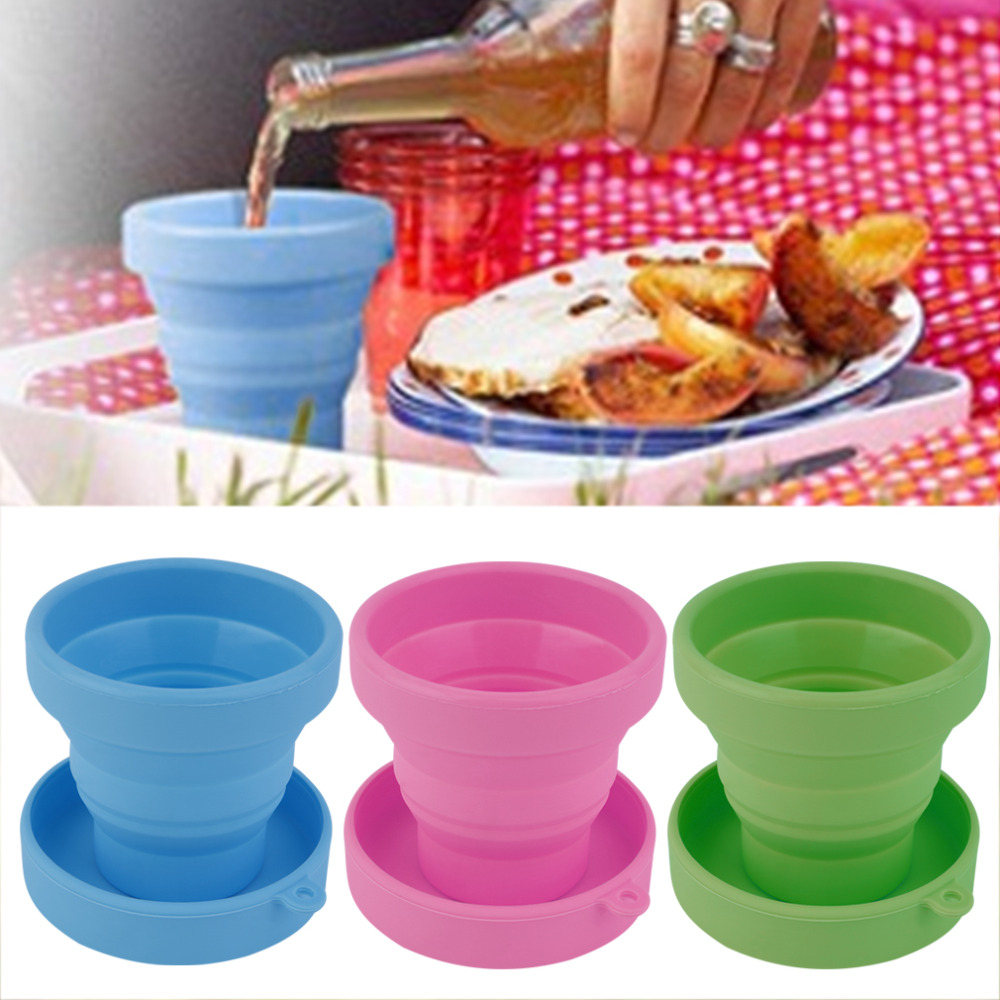 Ready Stock  Portable Silicone Retractable Folding Water Cup Outdoor Travel Telescopic Collapsible Soft Drinking Cup 8X4.3X7CM