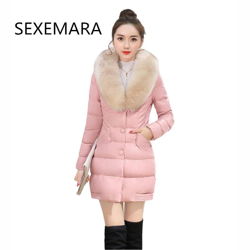 2018 Winter Artificial fur collar leather coat and fashion ladies warm casual cotton jacket temperament slim PU jacket LU378
