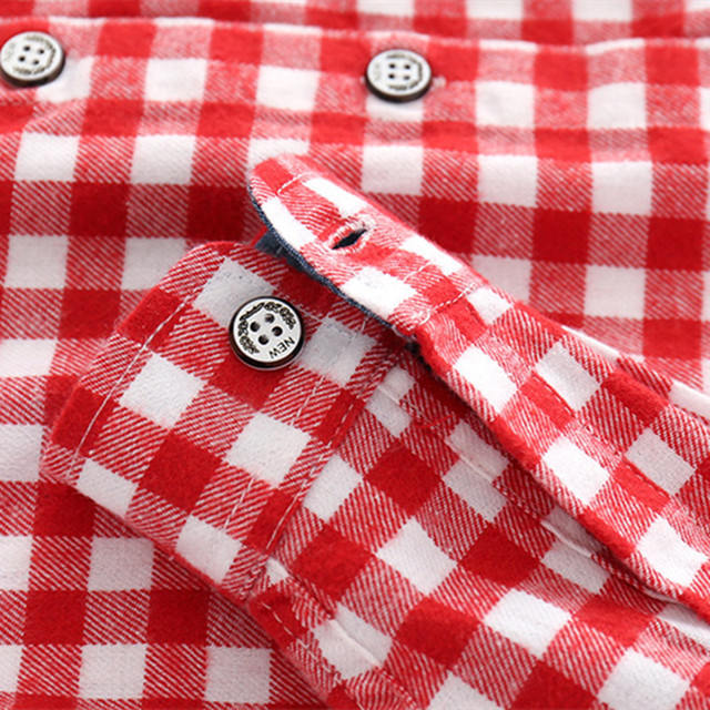 New 2018 Autumn Children Shirts Fashion Plaid Turn-down Collar Flannel Fabric Boys Shirts For 3-10 Years Old Kids Wear Clothes