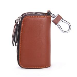 Image 3 - Genuine Leather Car Key Holder For Men Business Key Wallet Housekeeper Keys Male Zipper Door Key Chain Organzier Key Pouch Case