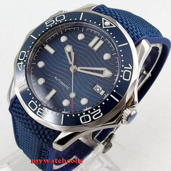 41mm bliger navy blue sterile dial luminous ceramic bezel sapphire glass date automatic mens watch 222