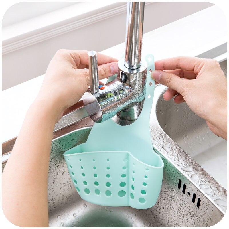 LIYIMENG Sink Shelf Kitchen Sponge Drain Holder Storage Bag Toilet Soap Shelf Organizer Rack Hanging Basket Double Hanging Hag Rack B9