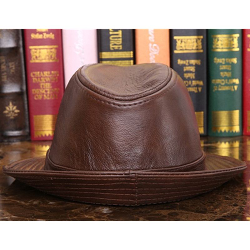 Men Genuine Leather Fedoras Hat Winter Cowhide Leather Jazz Hats High Quality