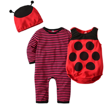 Autumn Spring Baby Halloween Style 3Peice Set Children Long Sleeve Striped Rompers Hats Vest Set Baby Climbing Suit Clothes Hot(China)