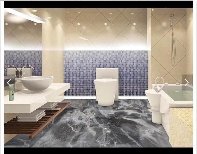 3D Foto Tapete Custom 3d Boden Malerei Tapete Grau Marmoriert Bad 3 D  Wohnzimmer Boden Fliesen Wohnzimmer Tapete