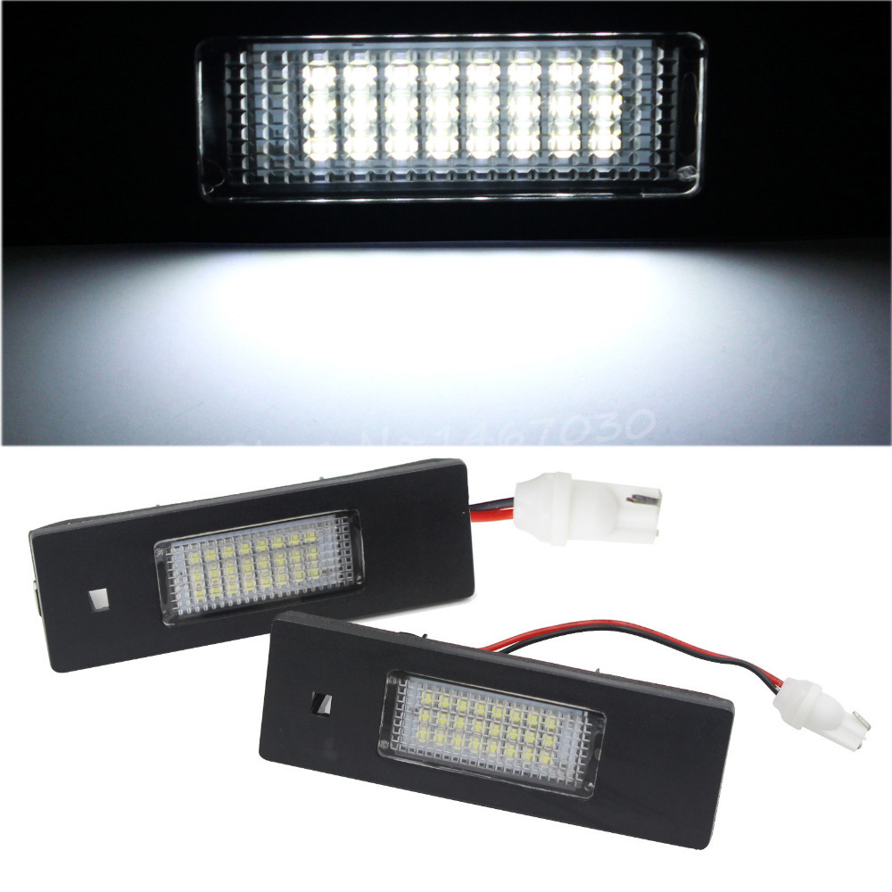 2PCS 24 LEDs License Plate Lights & Connectors SMD 3528 For BMW 1Series E81 E87 6Series E63 E64 Free Shipping