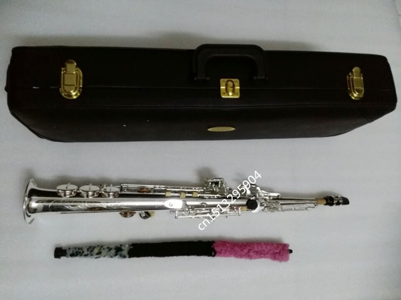 New Brand YSS-475 Silver Saxophone Soprano B flat play professionally a straight Top Professional-quality Musical Instruments brand new soprano saxophone yss 475 bronze b flat playing professionally one straight top musical instruments professional grade