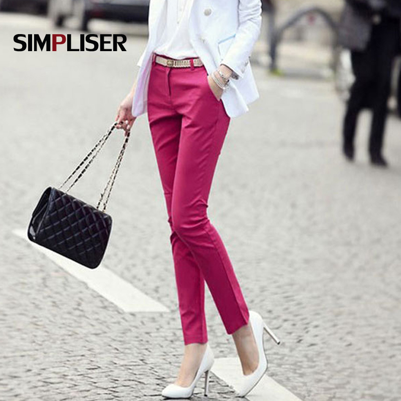 Women formal office work pants plus size ladies pencil pants black OL fashion black white khaki trousers Mid Waist Leggings 2018