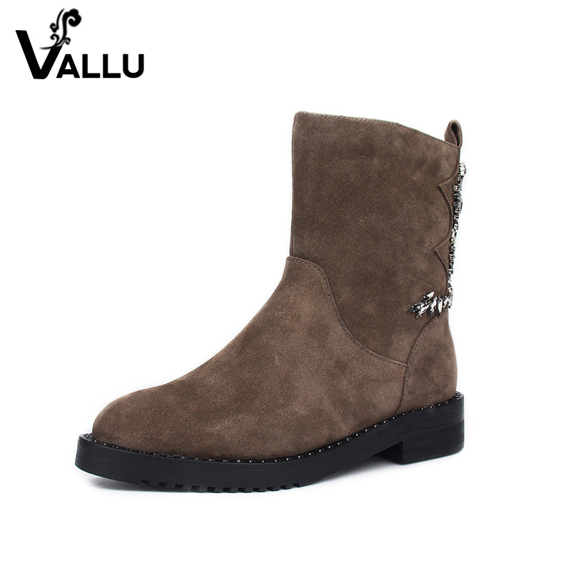 Winter Boots Women Shoes 2017 New Arrival Kid Suede Mid-Calf Boots Ladies Handmade Low Heel Crystal Women' s Shoes trendy low heel and double buckle design women s mid calf boots