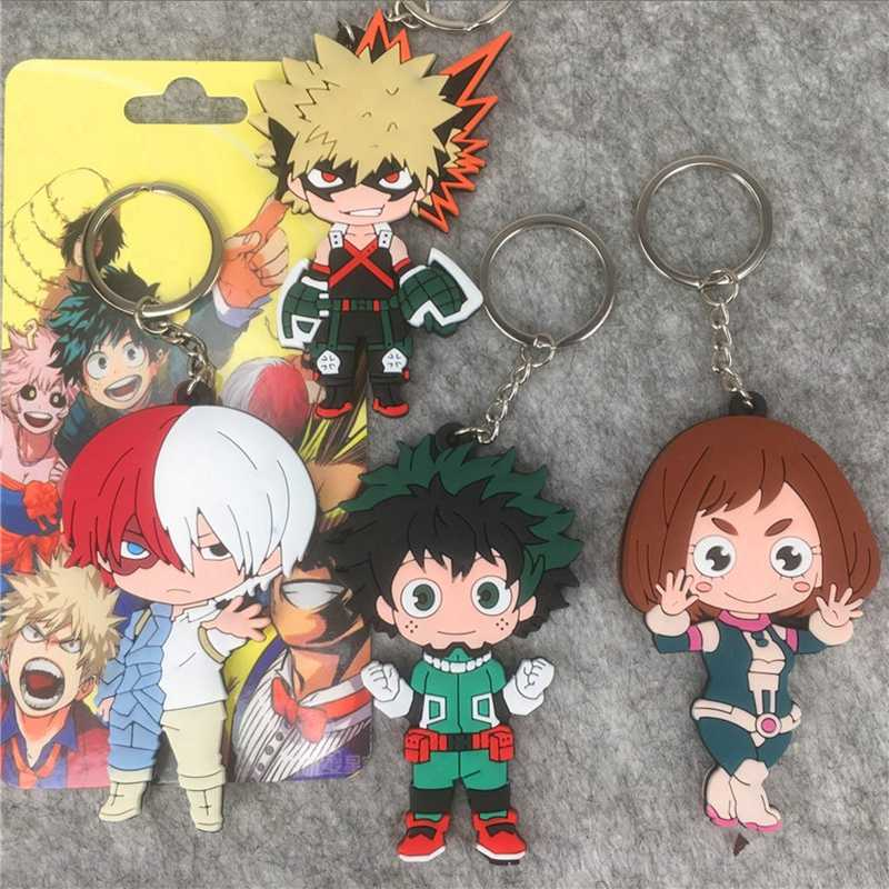Pendant Keychain Japan Anime Figures My Hero Academia Cartoon Characters PVC Keyring Ornament Action Toy Figures Collection