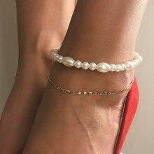 Vintage Bionic Pearl Anklets Chian Temperament Simple Beach Retro Metal Anklet Multi-layer Bohemian