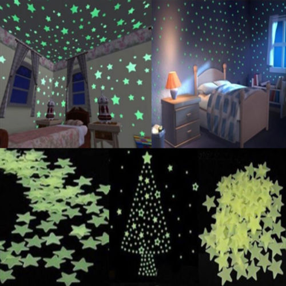 Bedroom ceiling lights stars -  Bedroom Nursery Room Ceiling Decor 100pcs Set Glow In The Dark Wall Stickler Light Green Luminous Star Wall Stickers For