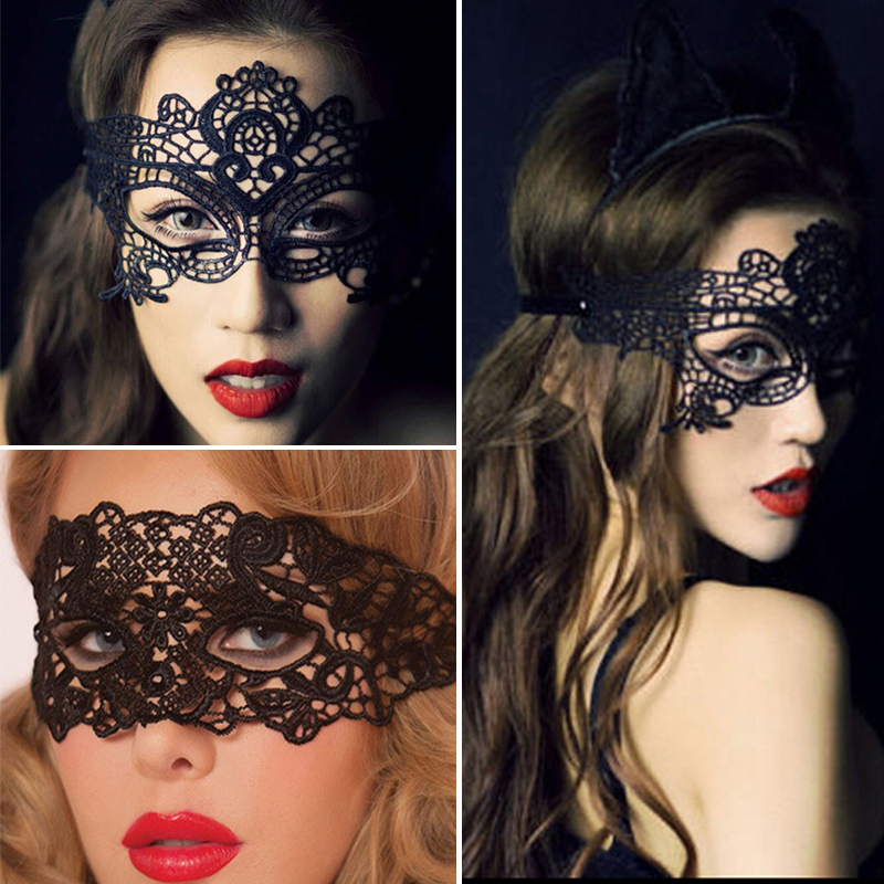 Black Women <font><b>Sexy</b></font> Lace <font><b>Eye</b></font> <font><b>Mask</b></font> Party <font><b>Masks</b></font> For Masquerade Halloween Venetian Costumes Carnival <font><b>Mask</b></font> For Anonymous Cosplay image