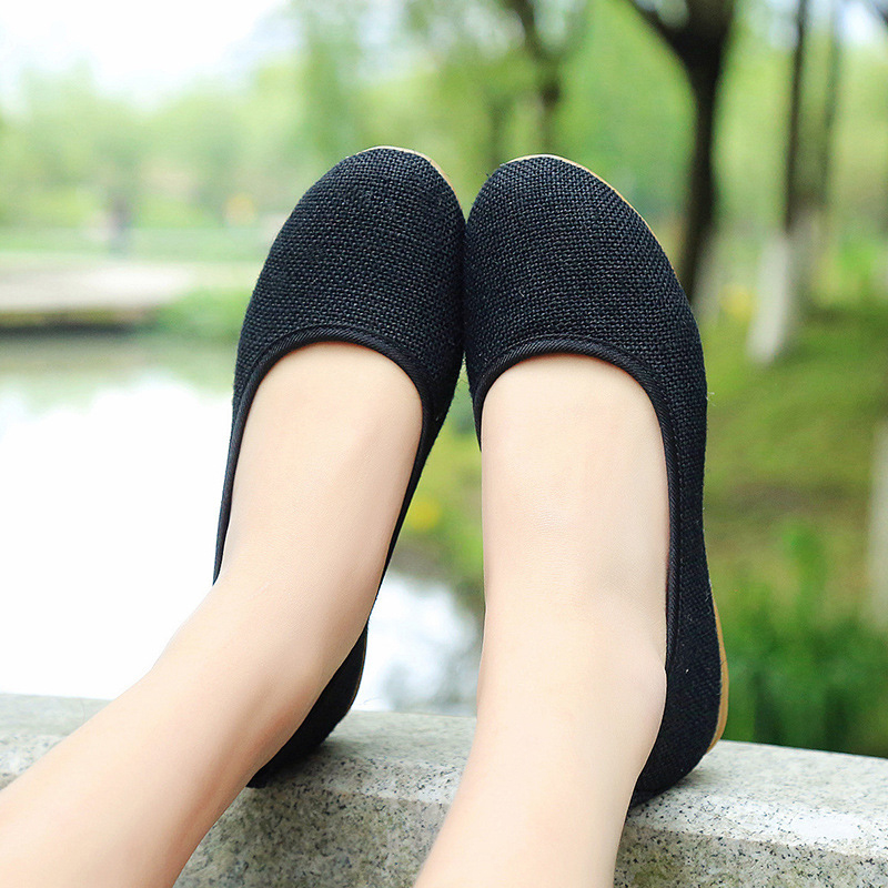 2019 New Women Cotton Fabric Ballet Flats Cut Outs Flat Shoes Sweet Hollow Summer Female Ladies Shoes Casual Shoes