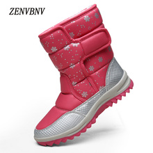 ZENVBNV 2017 Hot Sale Casual Shoes Women Boots Solid Hook Loop Soft Women Snow Boots Pu Leather Flat with Winter Fur Ankle Boots