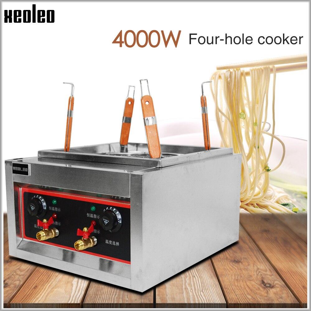 XEOLEO 4 Cesta De Massas máquina De Macarrão ferver Macarrão caldeira fogão Elétrico fogão cozinhar Fogão Massas de aço Inoxidável De Macarrão Comercial