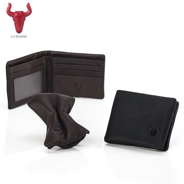 mens designer leather wallet with coin pocket