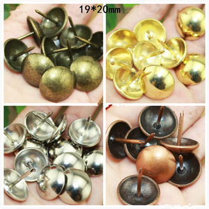 100Pcs 19*20mm,Refiined Round Decorative Iron Nails Furniture Studs Sofa Chair Pins,Table Foot Glide Nail,Tack Nail