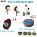 Sistema de chamada sem fio 3 pcs botão de chamada de vibração Pagers relógio Y-650 23 pcs K-H4 Ding Dong restaurante sino