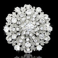 Retail Hot Selling Top Quality Austria Crystals Silver Tone Wedding Bridal Bouquet Flower Brooch Women Party Dress Jewelry