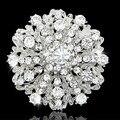 Venta caliente al por menor de calidad superior Austria cristales boda de plata del tono ramo de novia broche de la flor mujeres joyería vestido de fiesta