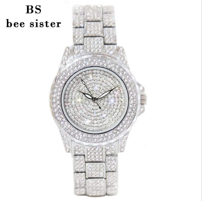 2017 High Qulaity women rhinestone watches diamond women dress watches ladies stainless steel band Water proof Hot sale clocks high qulaity black