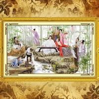 JoySunday labores de punto de cruz set Viendo Bambú Red mansion DMC14CT11CT sala dormitorio hotel pintura al por mayor