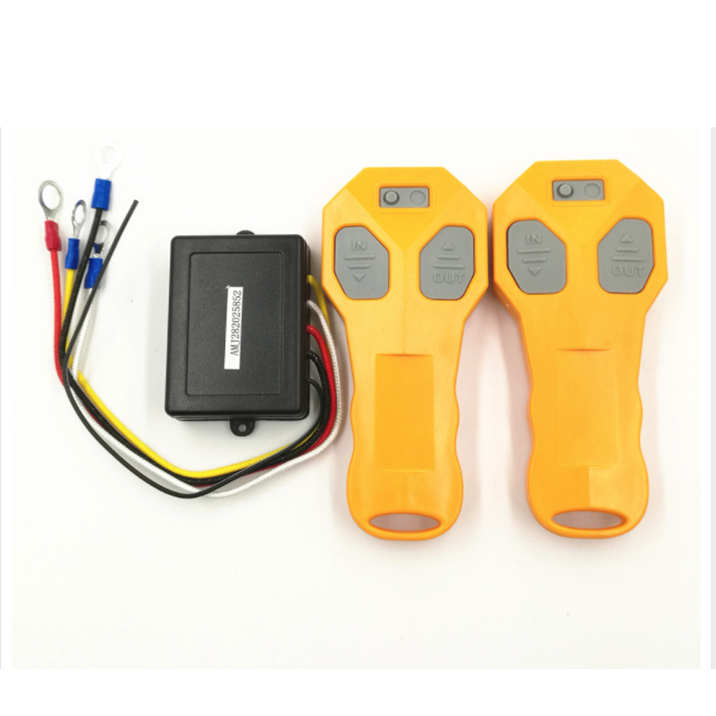 DC12V Telecomande Wireless Winch Remote Control Yellow+Black Kit With Twin Handset Two Matched Transmitters for Universal Car