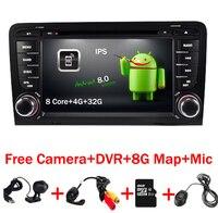 7 дюймов 2 DIN Сенсорный экран автомобиля видео dvd плеер Android 8.0 wifi 4 г GPS Географические карты аудио 8 core в тире MIC для Audi A3 S3 RS3 Радио